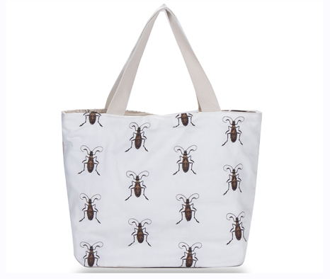Insect Embroidery White Linen Cotton Big Size Shopping Bag