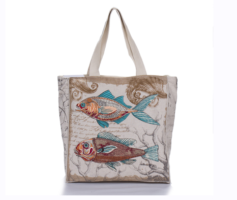 Fish Embroidery Linen Cotton Casual Style Canvas Tote Bag