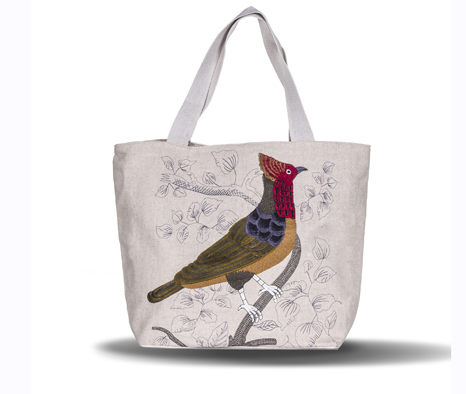Country Style Bird Embroidery  Female Handbag Women Large Thicken Canvas Casual Tote Messenger Bags