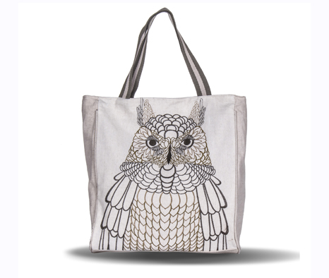 Vintage Country Style Owl Embroidery Woman Handbag Shoulder Tote Bag