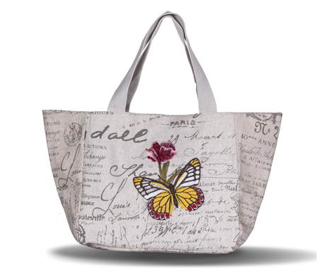 Country Style Elegant Butterfly Embroidery Canvas Woman Tote Bag