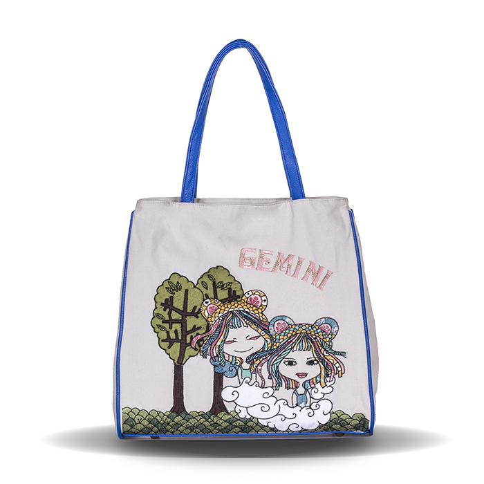 Constellation Series Gemini Embroidery And Printed Girl Canvas Shoulder Bag