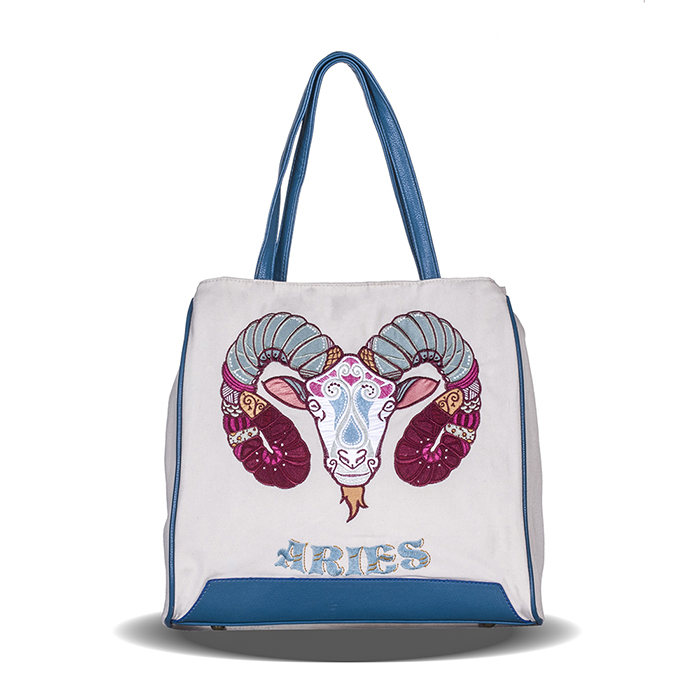 Constellation Series Aries Embroidery And Printed Girl Canvas Shoulder Bag