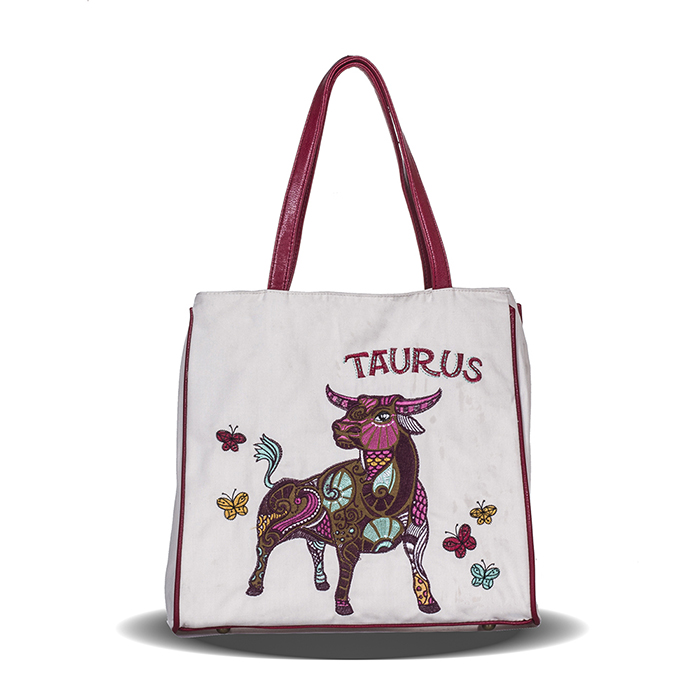 Constellation Series Taurus Embroidery And Printed Girl Canvas Shoulder Bag