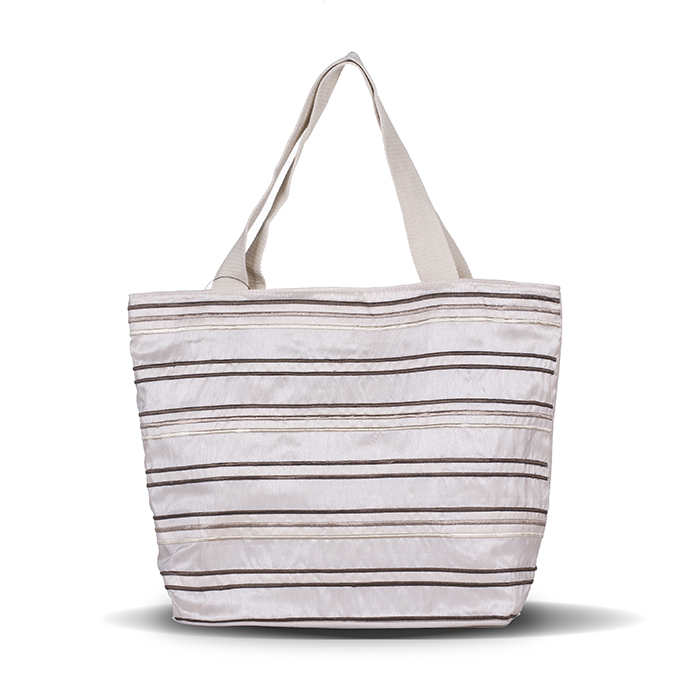 Stripes Embroidery Linen Cotton Nature Canvas Tote Bag