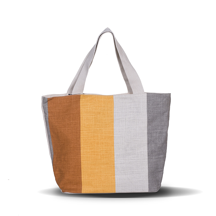 Country Style Stripes Colorful Print Big Size Canvas Shopping Bag