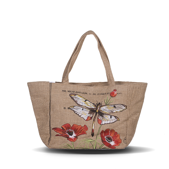 American Country Style Butterfly Embroidery Oversized Canvas Tote Bag