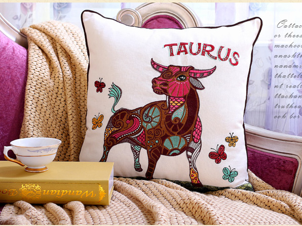 Constellation Series Taurus Embroidery And Printed Home Decoration Pillow Case Cushion Cover